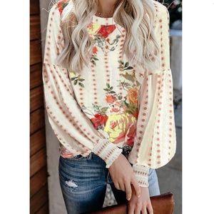 Floral Print Long Sleeve Blouse Top